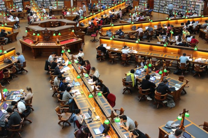 Students Working inside University Library
