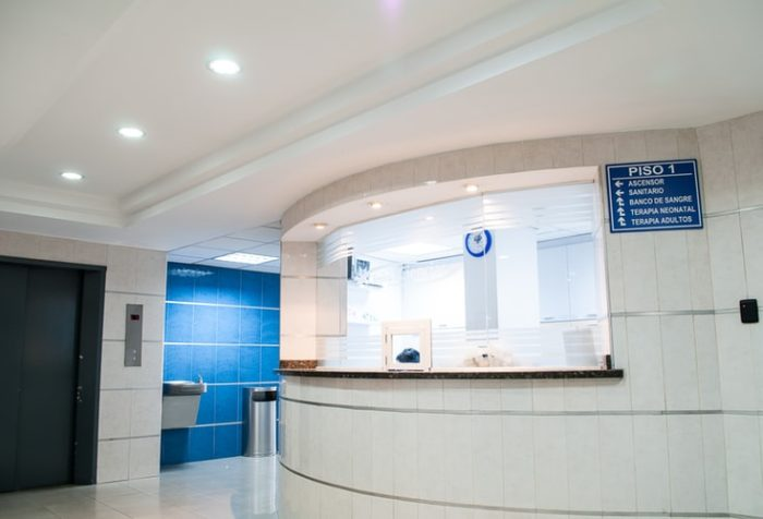 Pristine, White Reception Desk for a Hospital