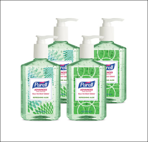 Four Green Bottles of Purell Hand Sanitizer