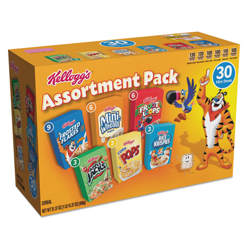 box of Kellogg's assorted cereals